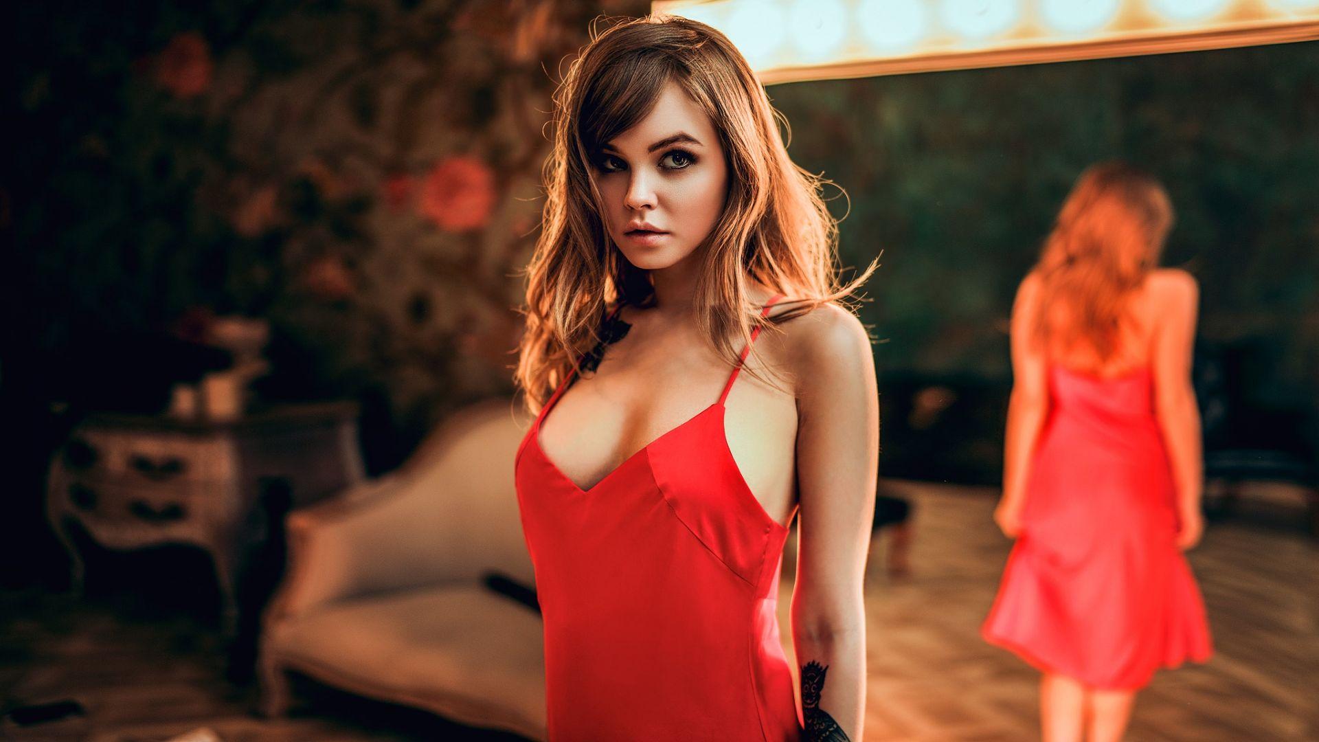 Anastasia Scheglova, red dress, hot, reflections