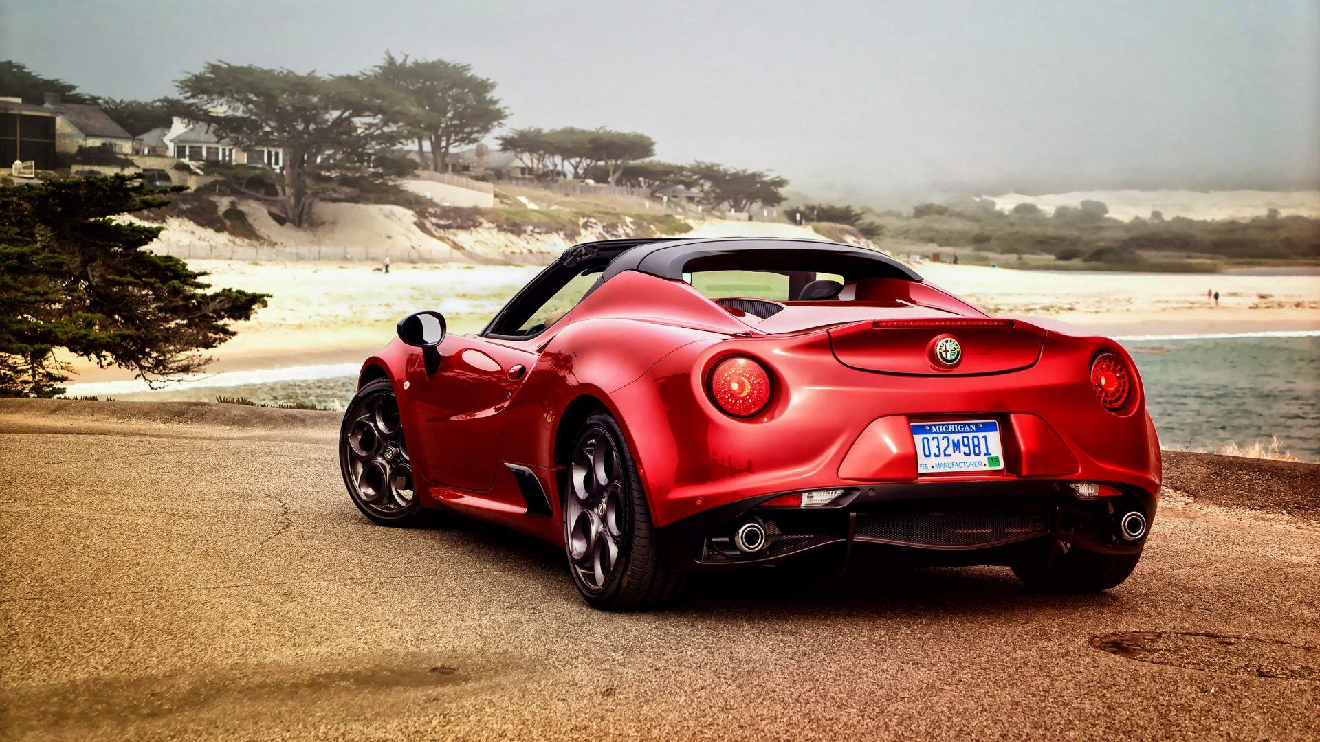 Wallpaper Alfa Romeo 4C Spider, Red car