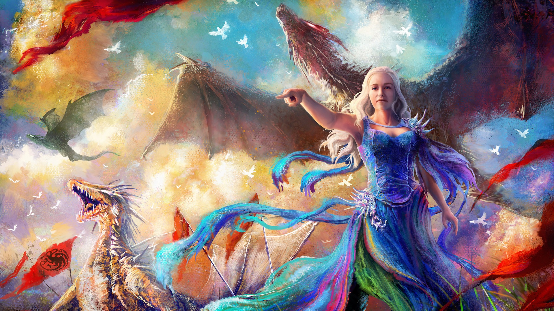 Wallpaper Game of thrones, daenerys, dragon, artwork