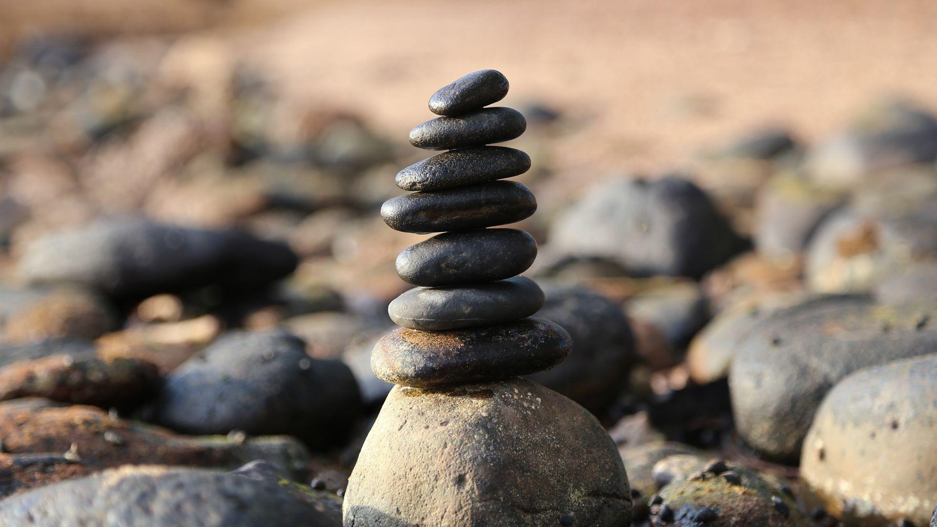 Desktop Wallpaper Stones Tower Balance Hd Image Picture