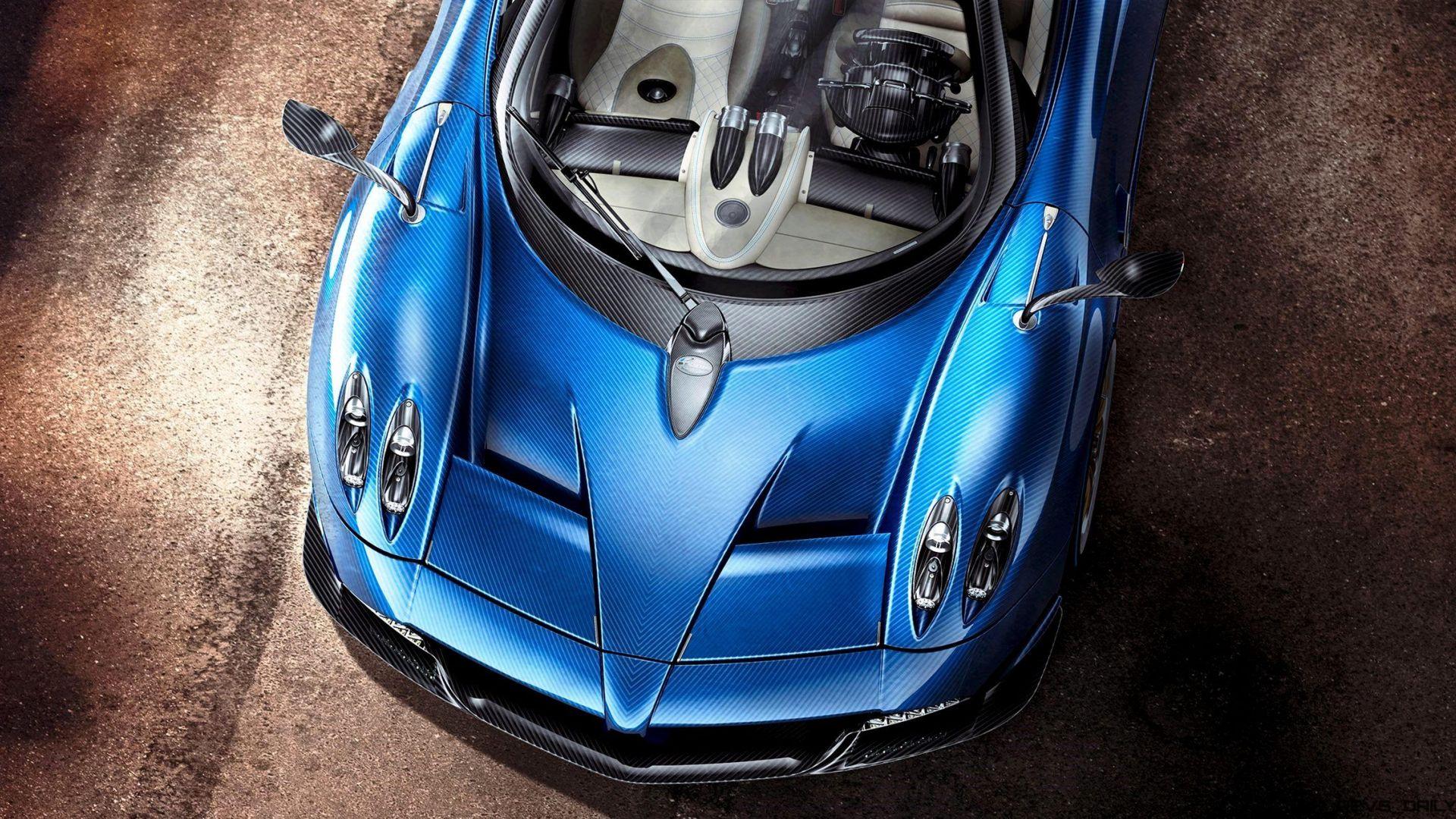 Wallpaper Pagani Huayra Roadster, blue sports car, bonnet