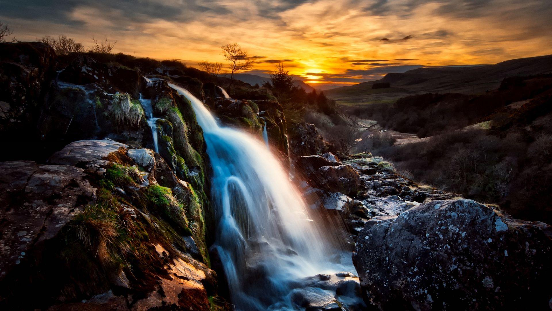 Wallpaper Scotland waterfall, sunset, rocks, nature
