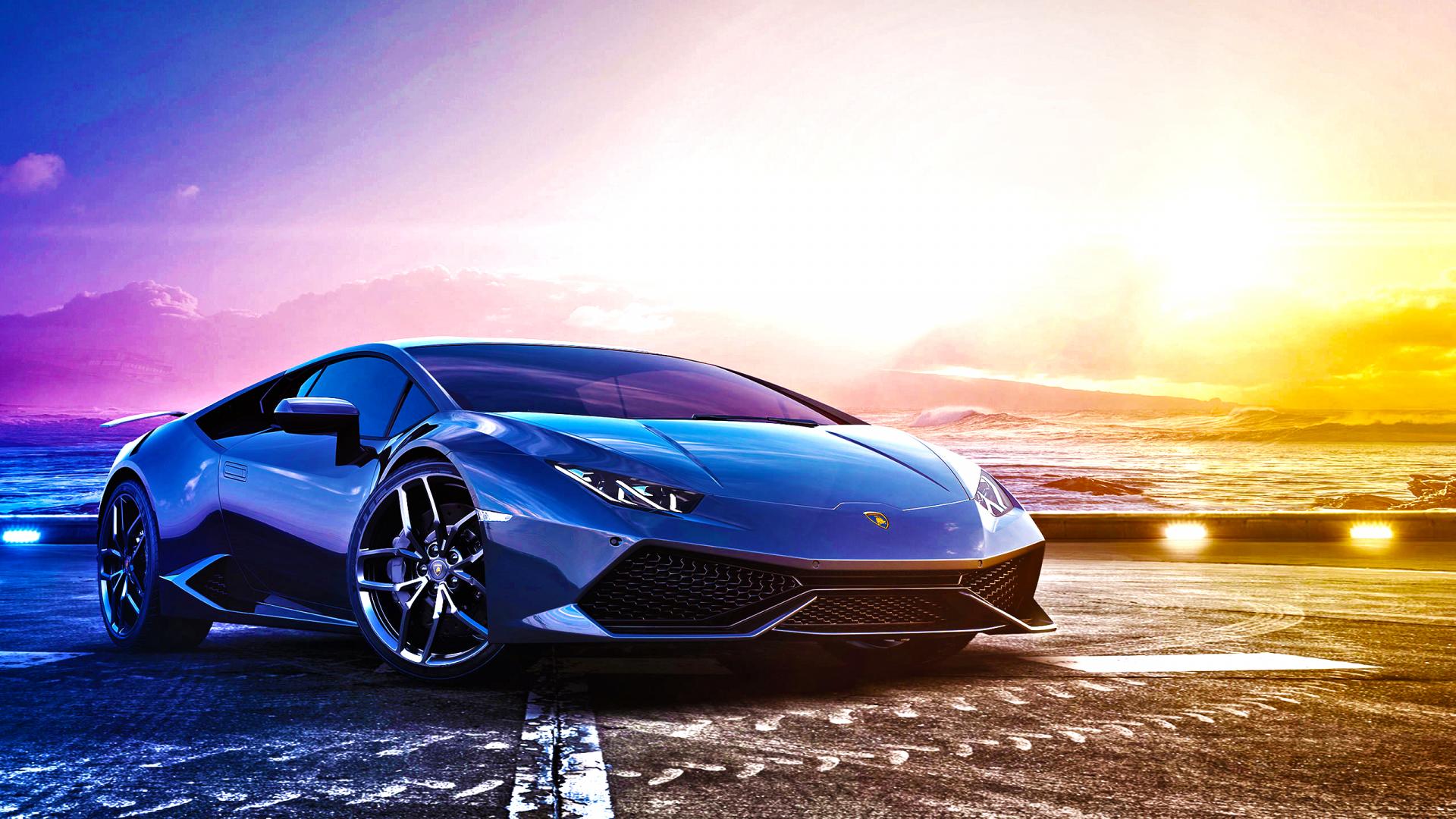 Desktop Wallpaper Lamborghini Blue Sports Car, Hd Image, Picture, Background, Qp7u06