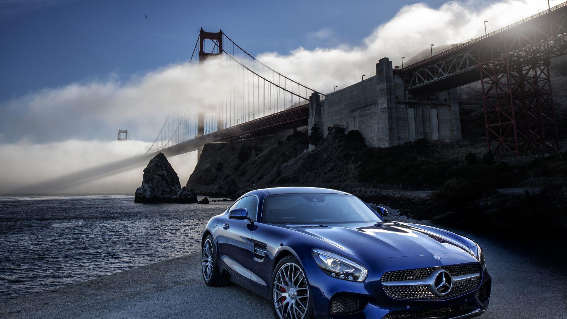 Wallpaper Mercedes-AMG GT car, Brooklyn bridge