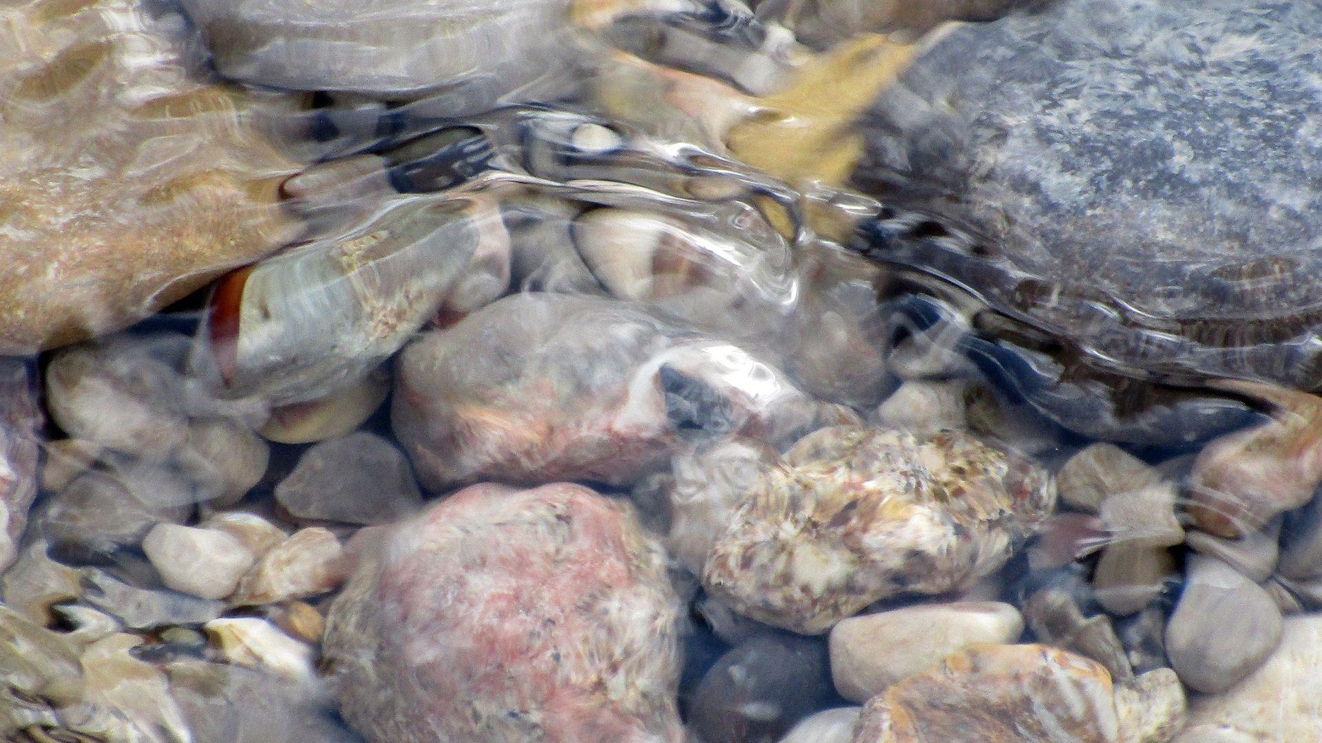 Wallpaper Water flow, stones, river