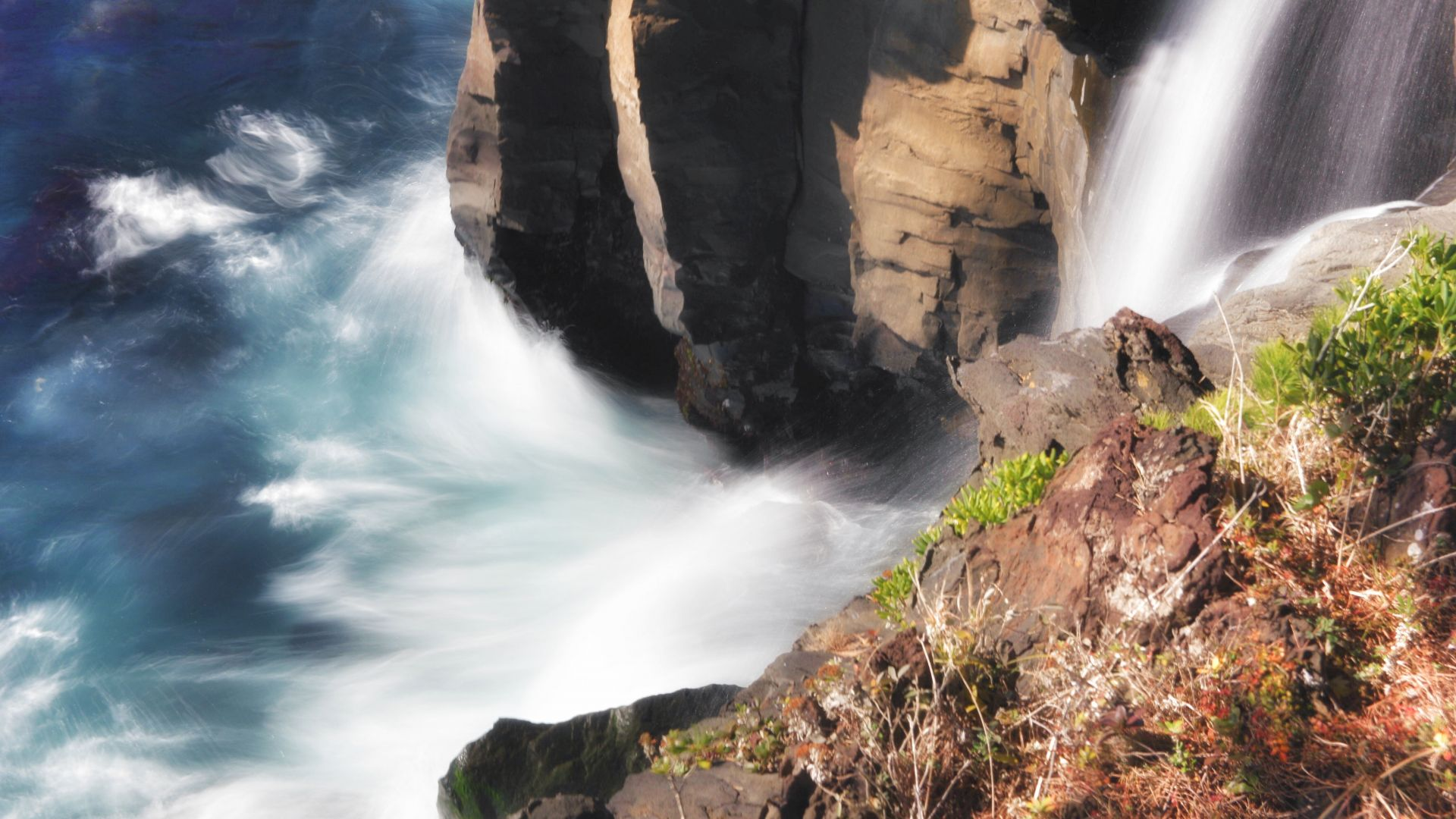 Wallpaper Waterfall, mountains, river, nature