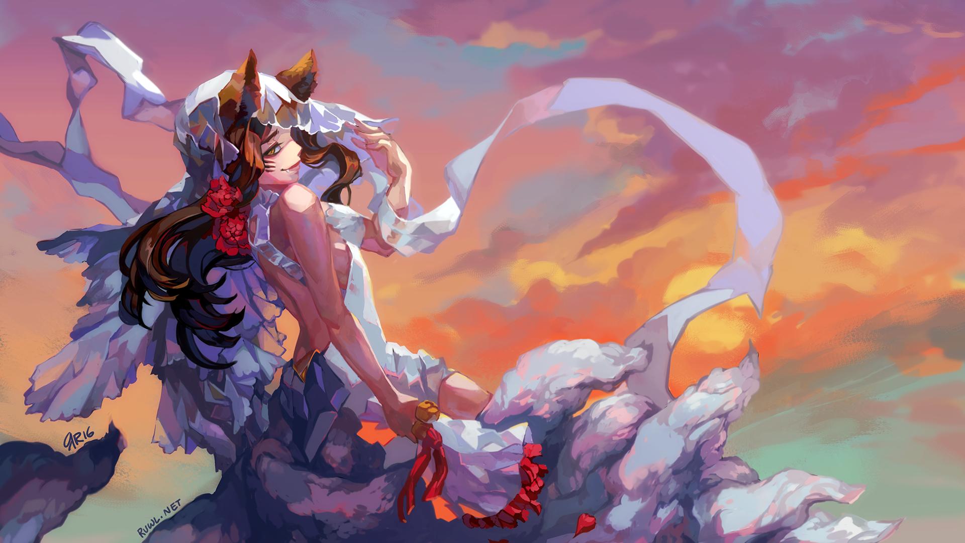 Wallpaper Ahri, League of legends, gaming
