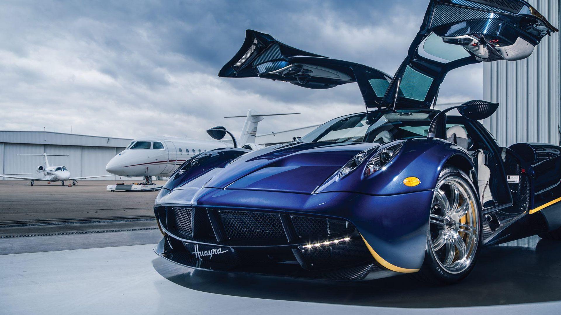 Wallpaper Pagani Huayra, sports blue car