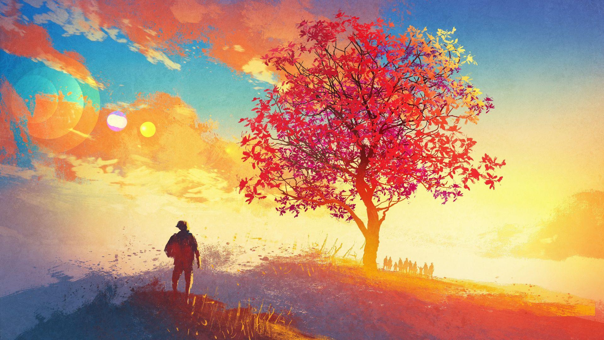 Wallpaper Colorful artwork of tree, landscape