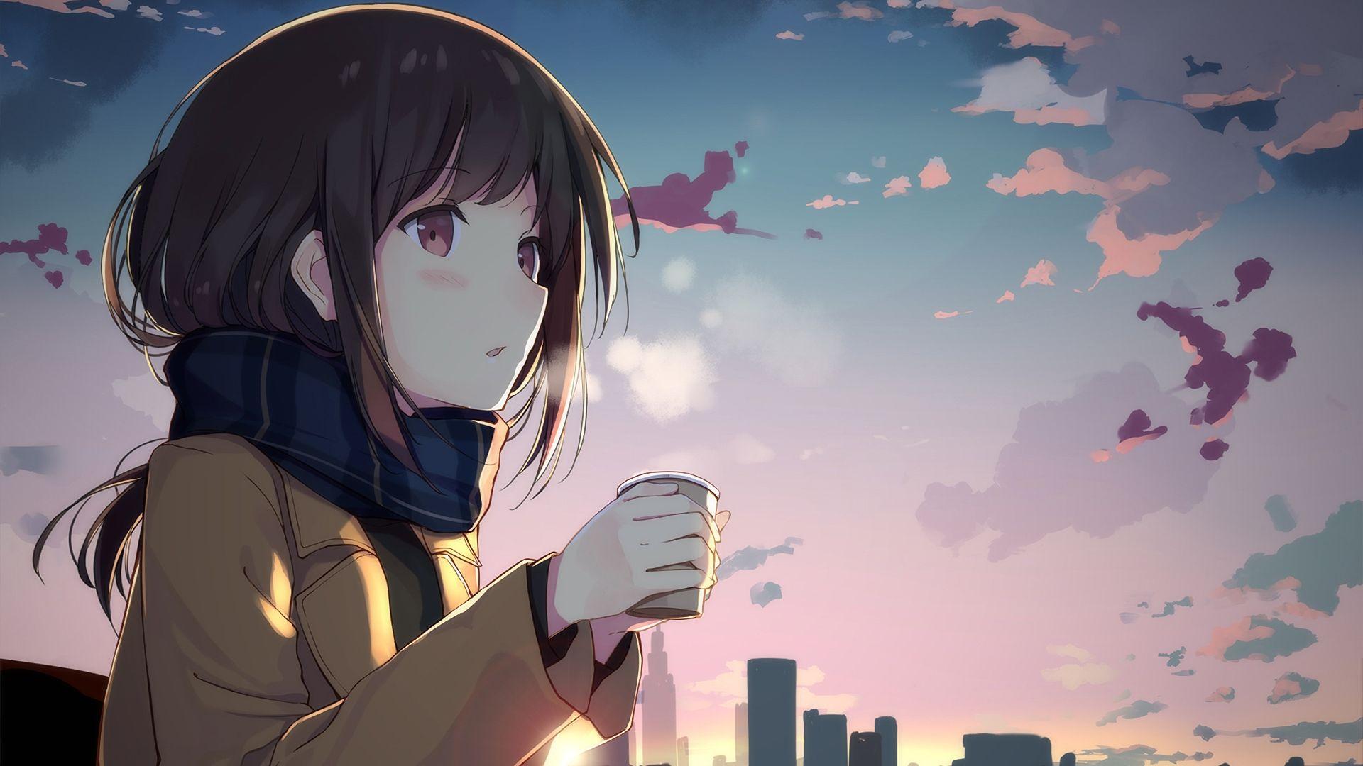 Desktop Wallpaper Cute Anime Girl Drinking Coffee Anime