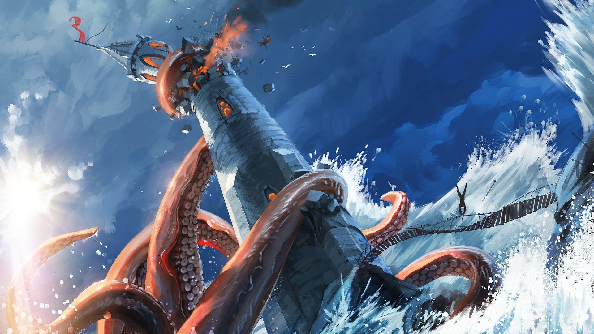 Kraken, sea monster, lighthouse, art