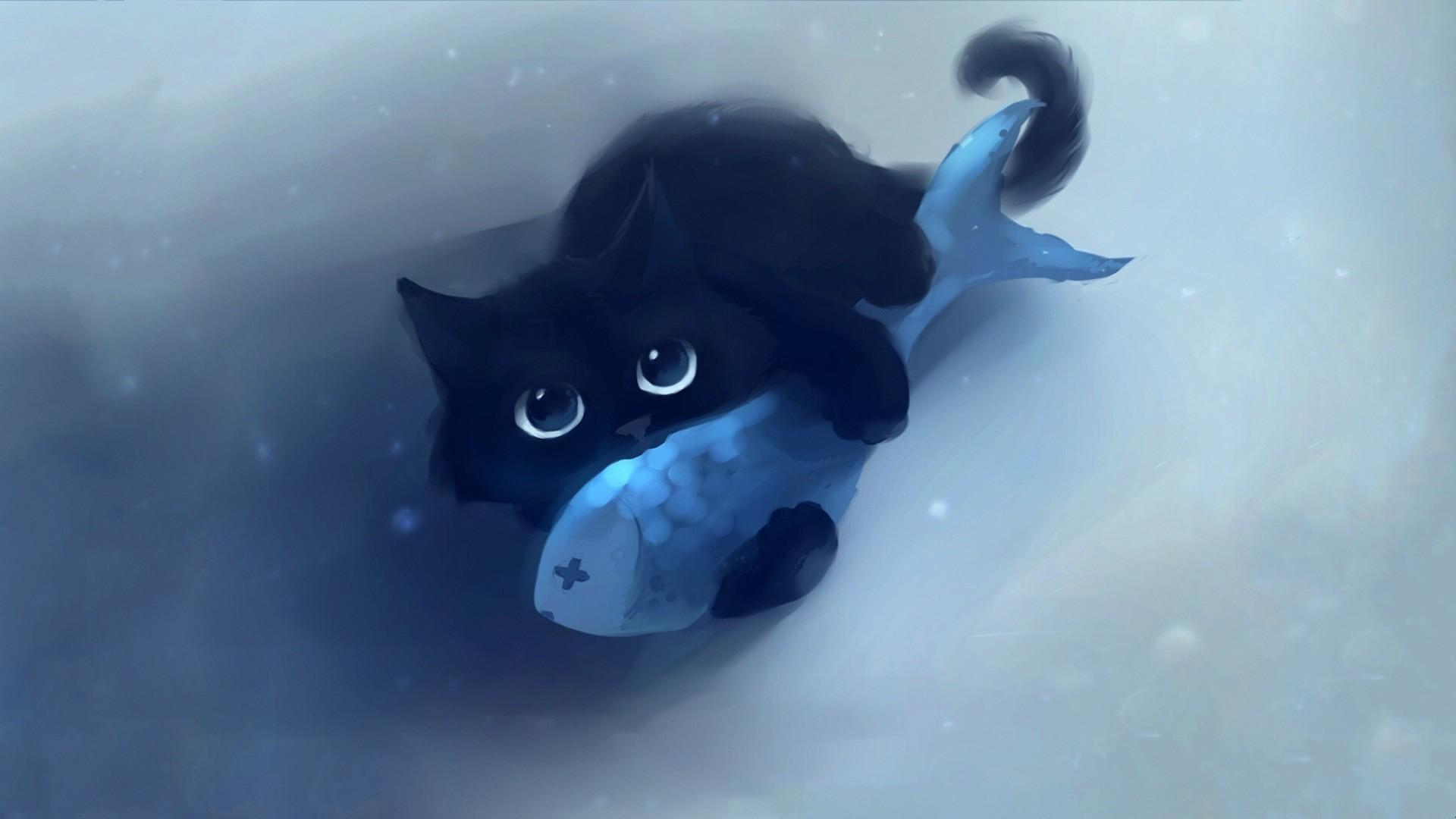 Wallpaper Black cat and fish art