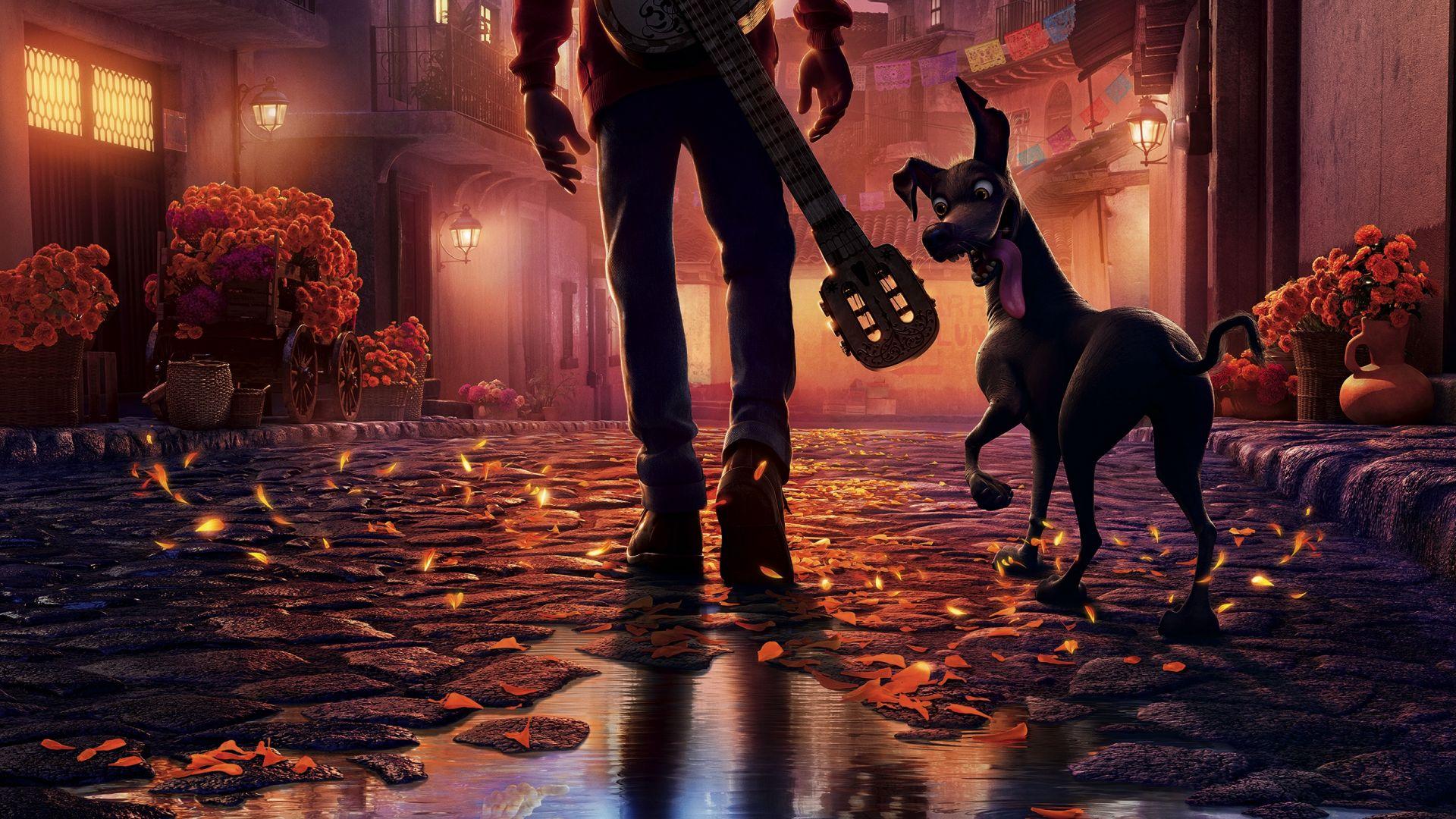 Desktop Wallpaper Coco Animated Movie Pixar Dog Street