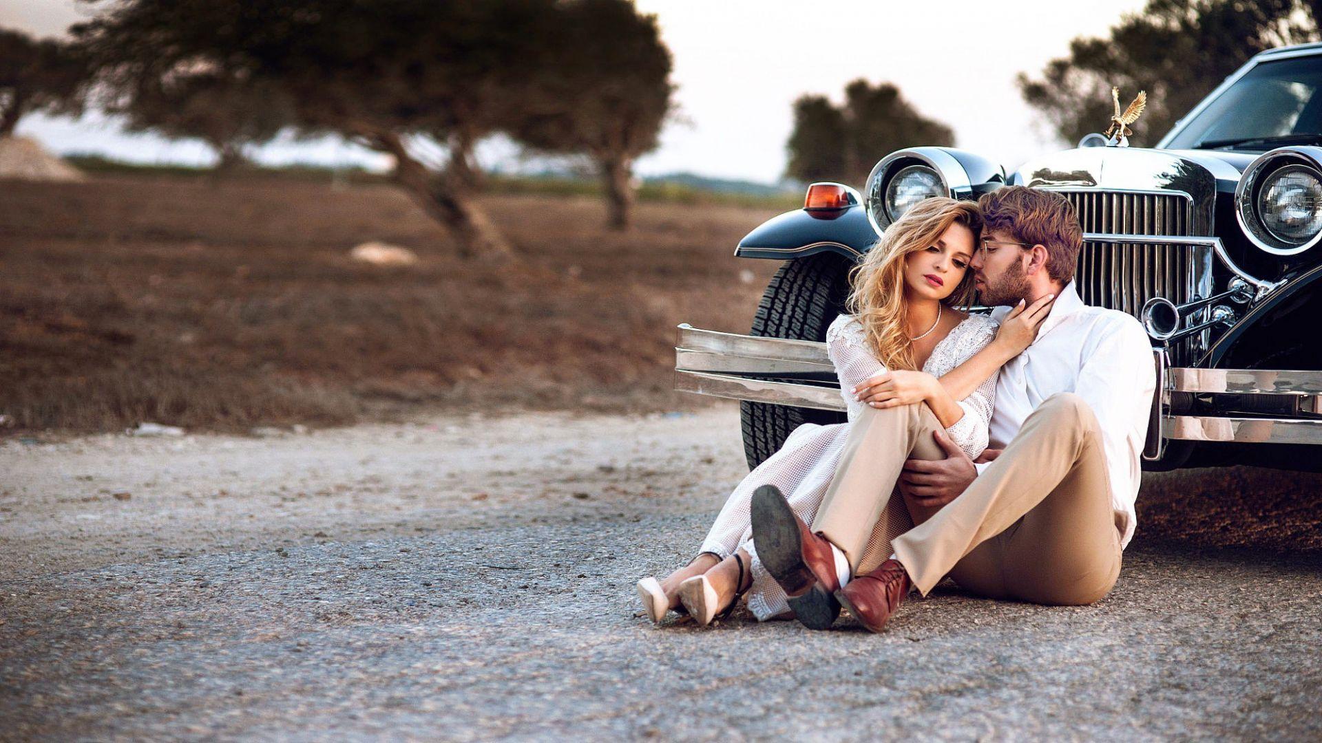 Wallpaper Couple, romance, love, car, outdoor
