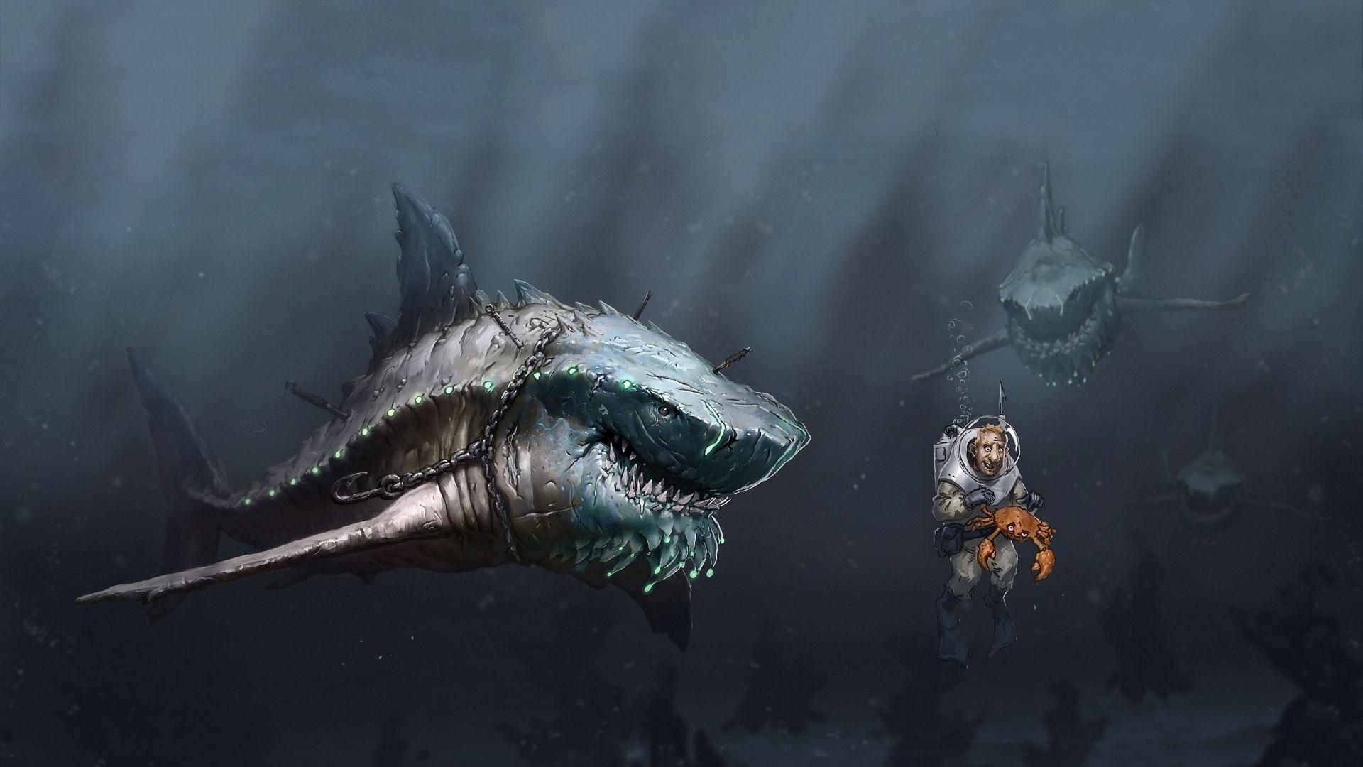 Wallpaper Digital art work of shark and man