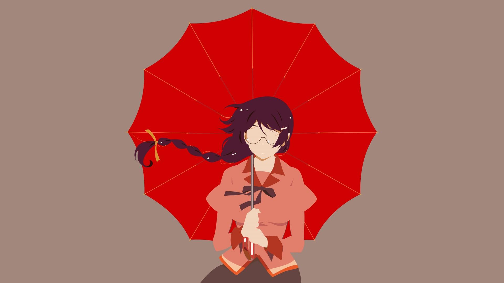 Wallpaper Tsubasa Hanekawa, Bakemonogatari, with red umbrella, anime girl