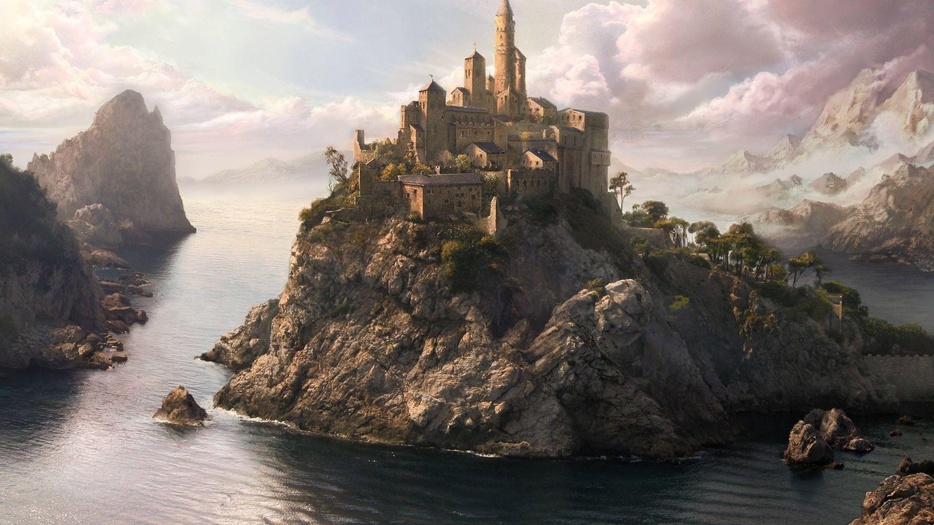 Fantasy River Mountains Castle Art Wallpaper