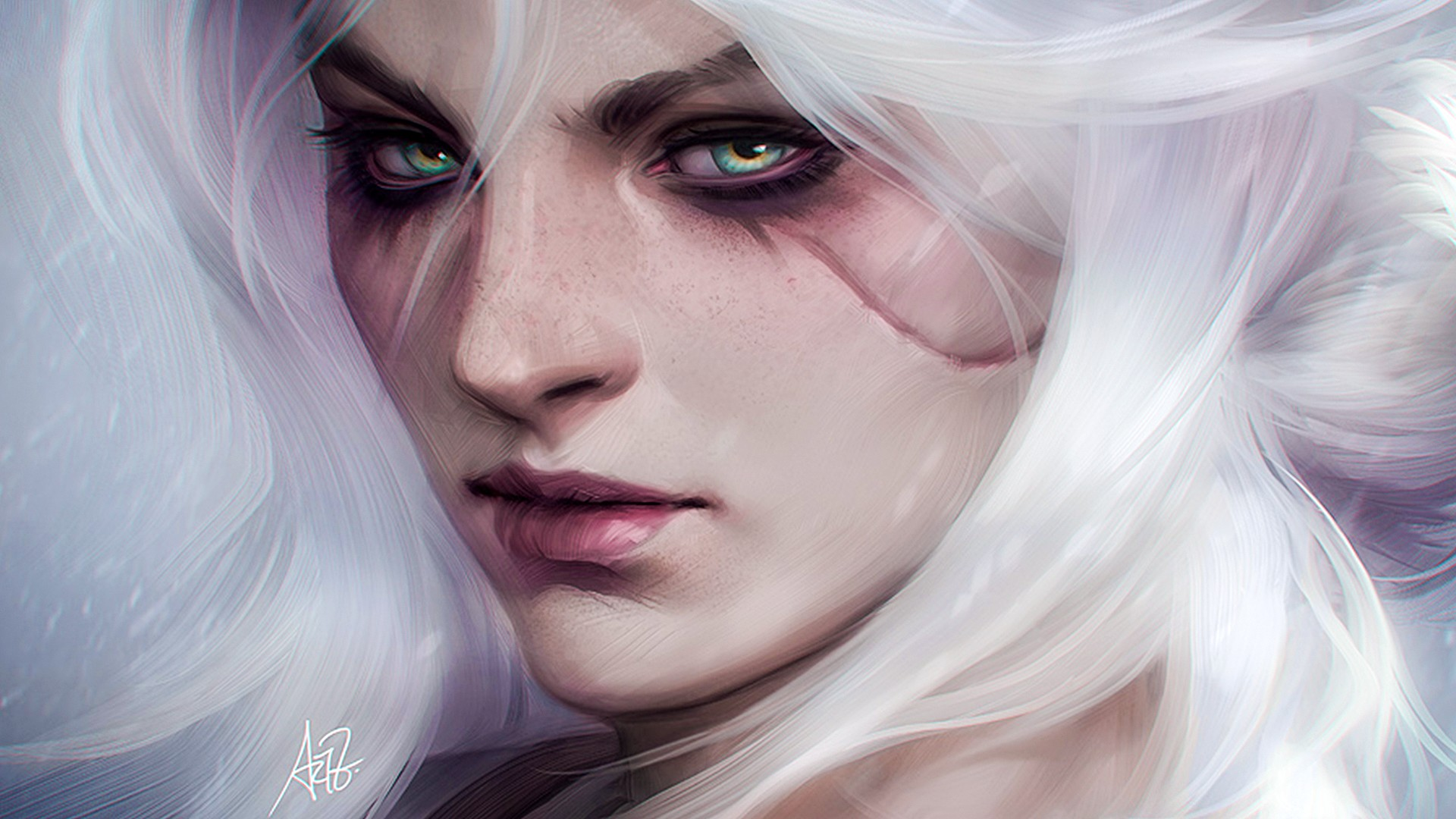 Wallpaper The witcher video game, girl, witch, face, fan art