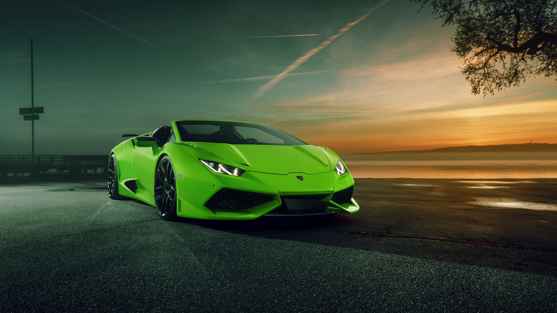 Wallpaper Green sports car, Lamborghini Huracan