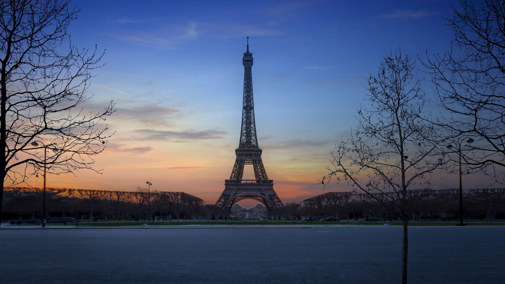 Wallpaper Eiffel tower, architecture, Paris, city, sunset