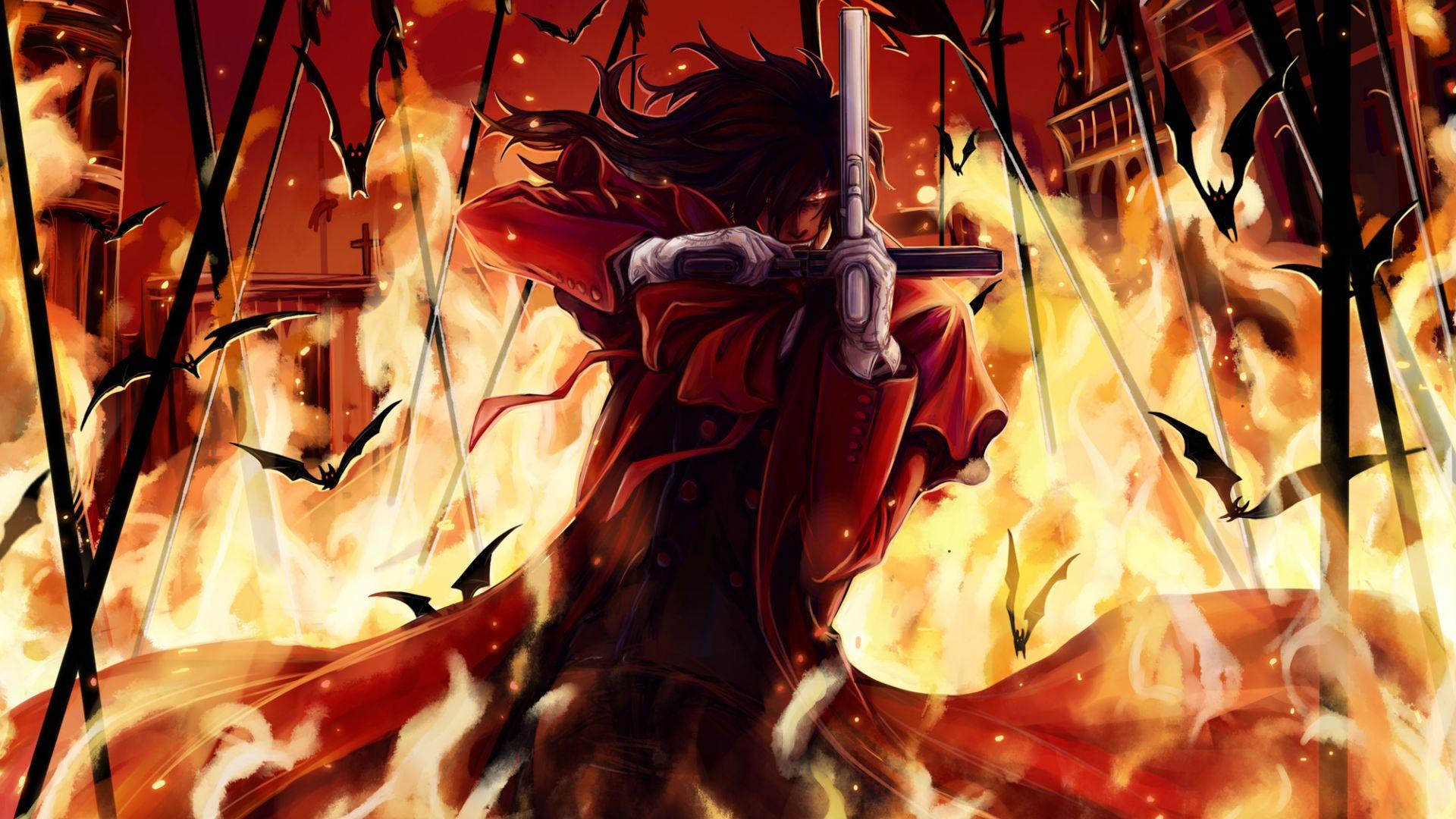Wallpaper Fire, devil smile, Alucard, hellsing, anime