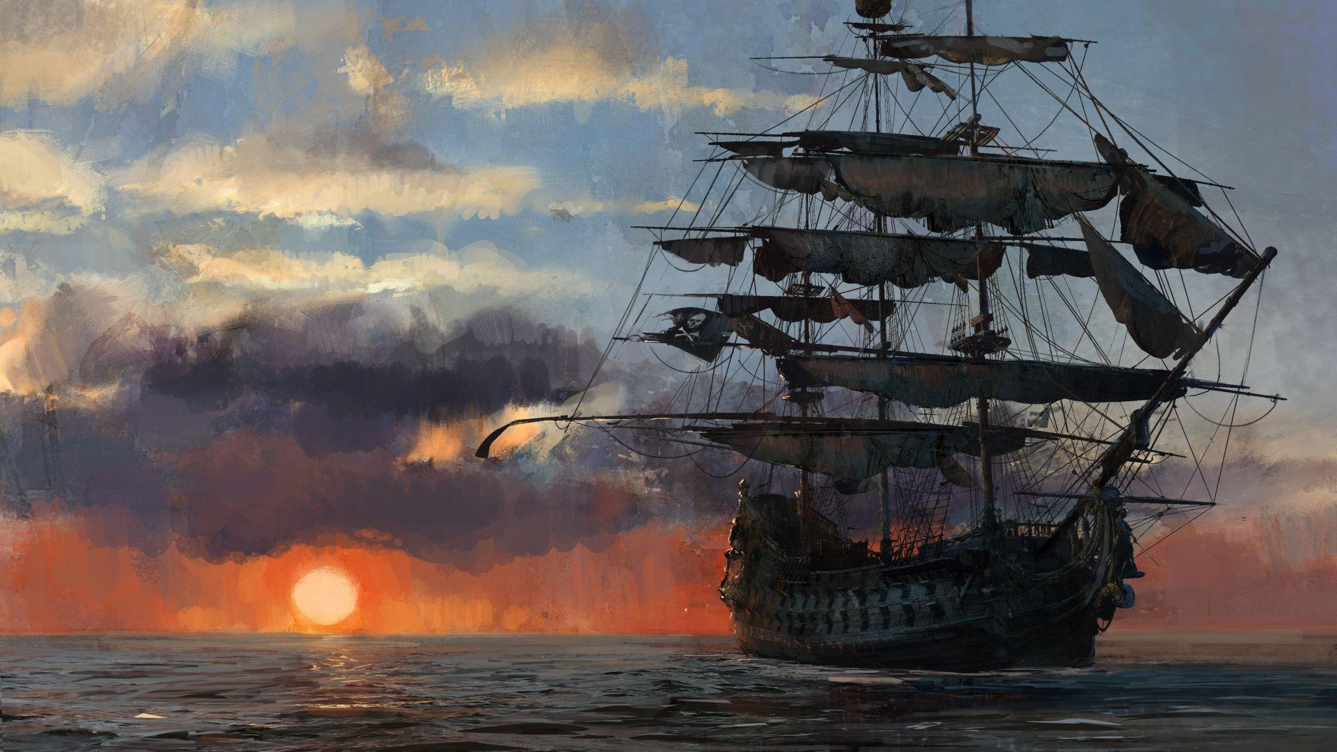 Wallpaper Skull and Bones, ship, sunset, artwork, video game