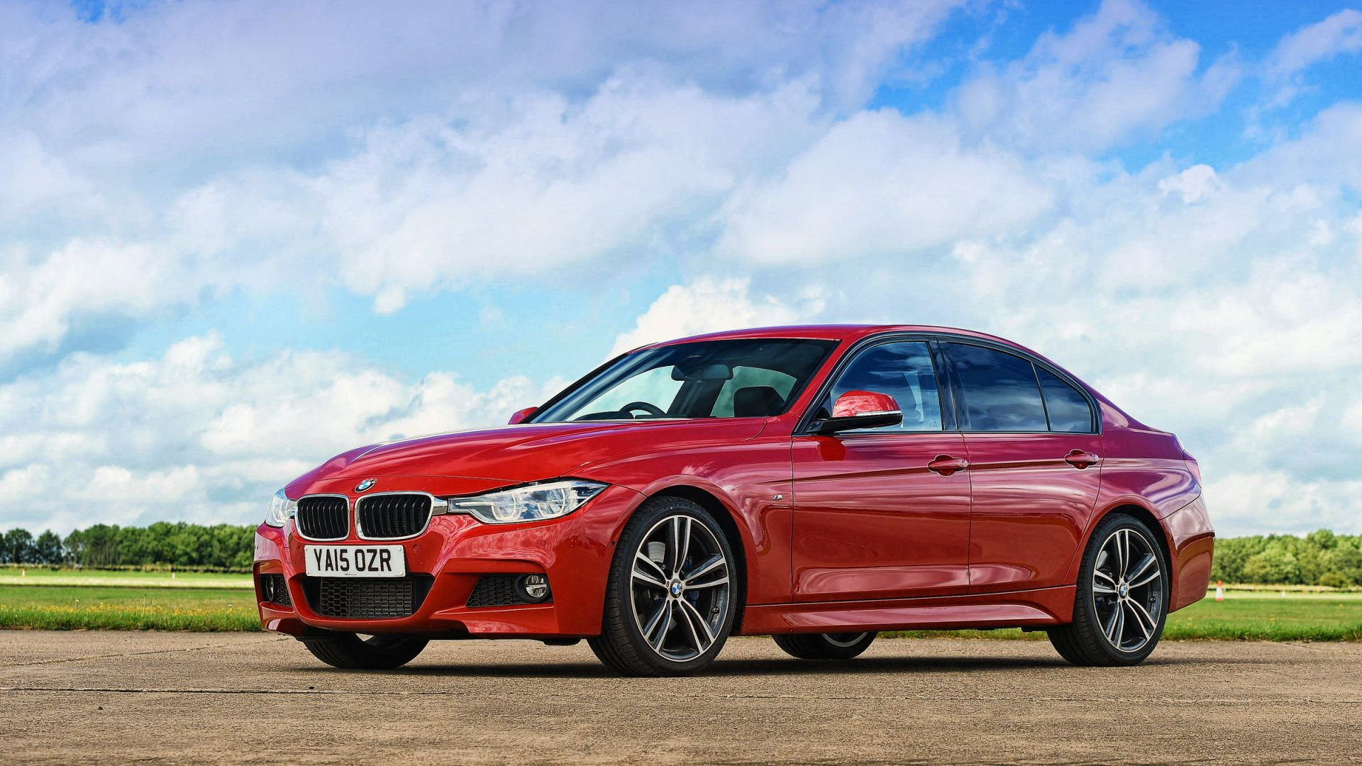 Wallpaper BMW 3 Series, red luxury car, side view