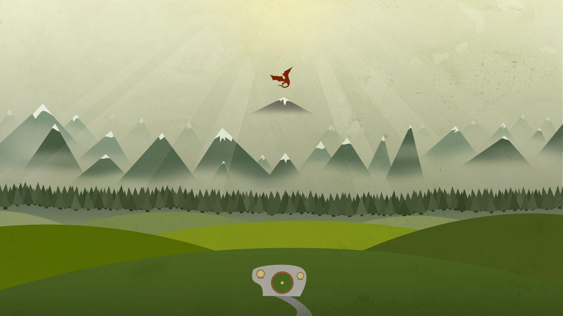 Wallpaper Dragon, mountains, minimal, landscape, abstract
