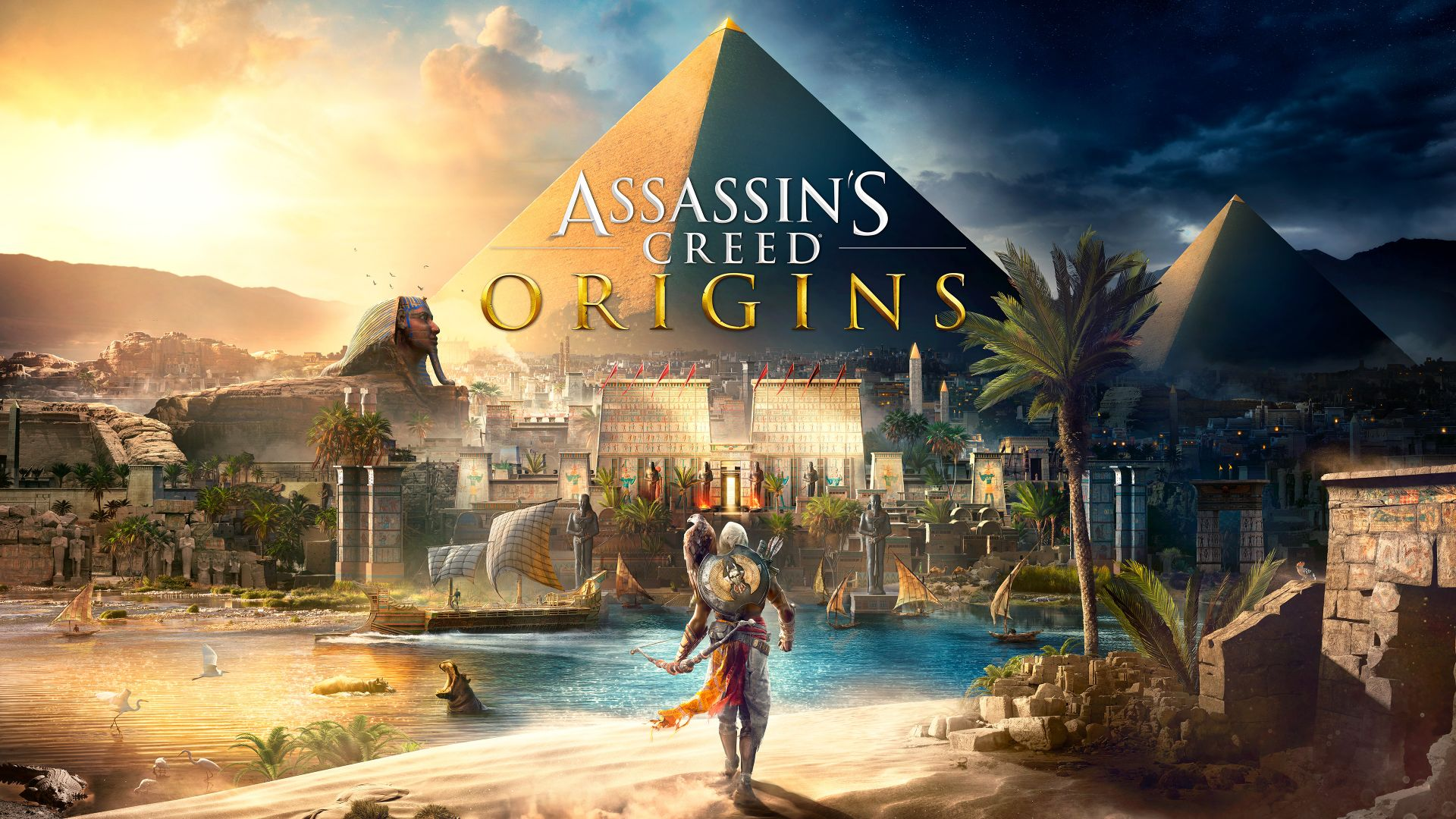 Wallpaper Assassin's Creed Origins, video game, pyramids, 4k