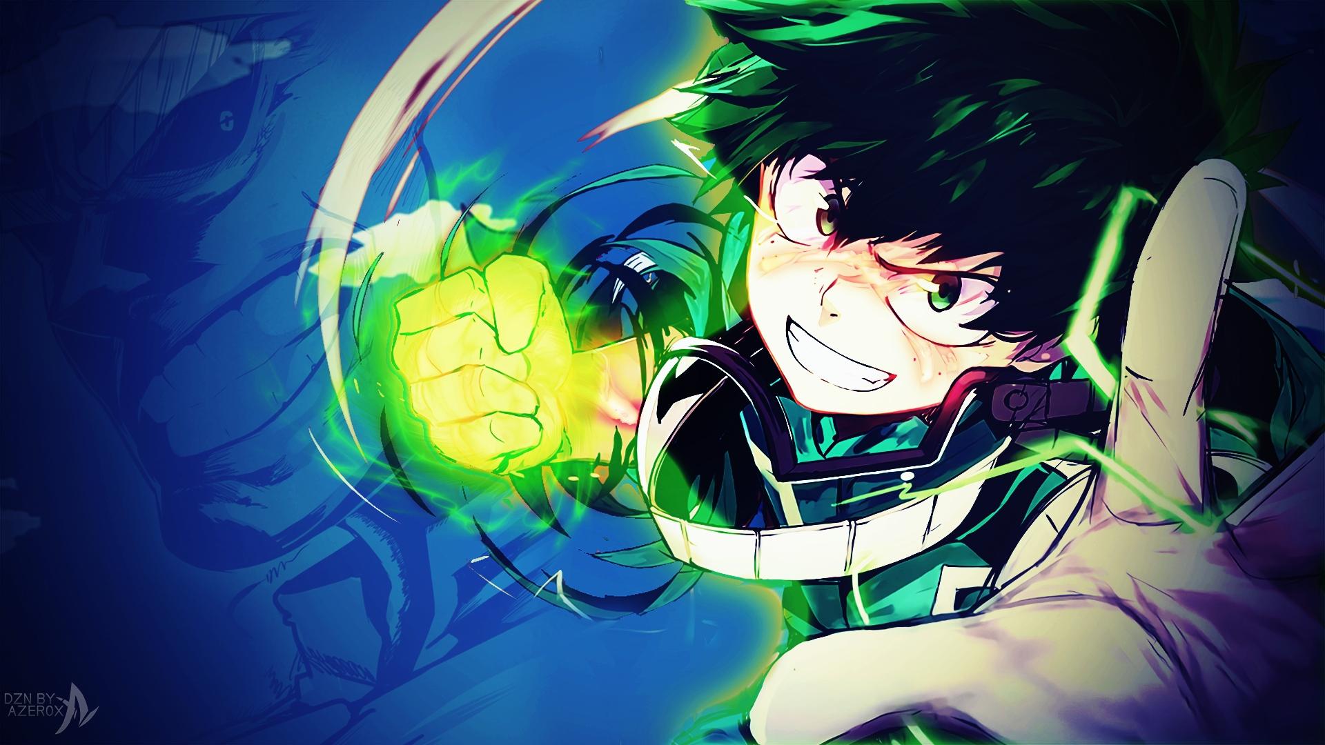Wallpaper Izuku Midoriya, Boku no hero academia, anime boy, punch