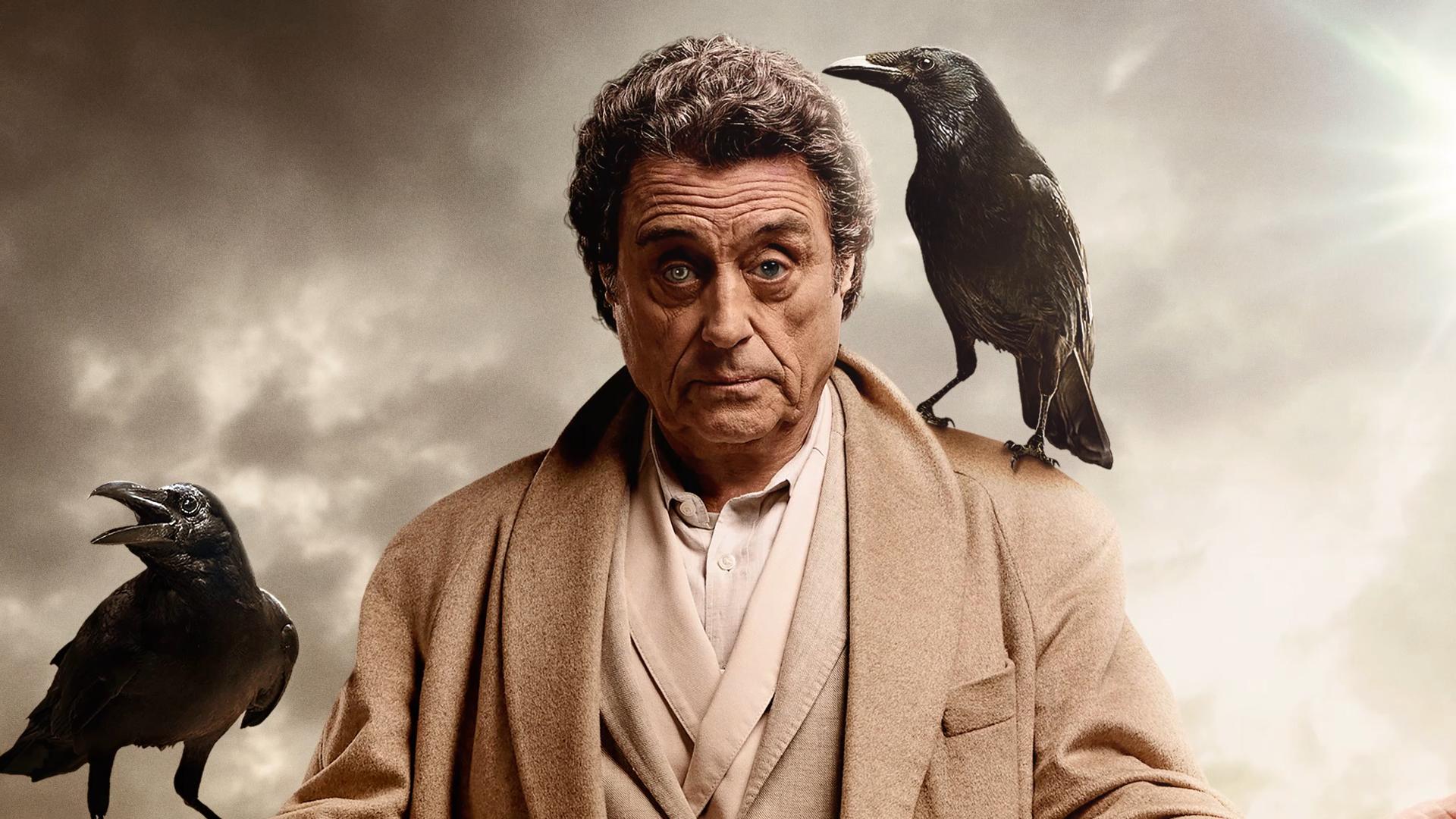 Wallpaper TV series, American Gods, crow, Ian McShane, actor