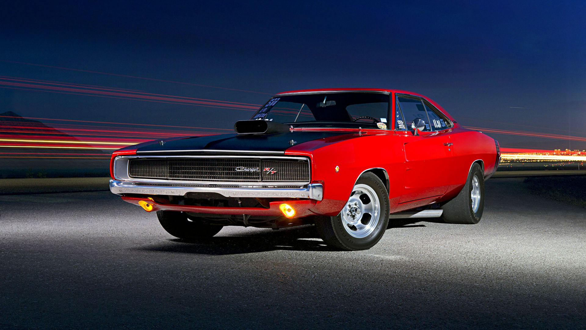 Desktop Wallpaper Classic Muscle Car Red Dodge Charger Hd