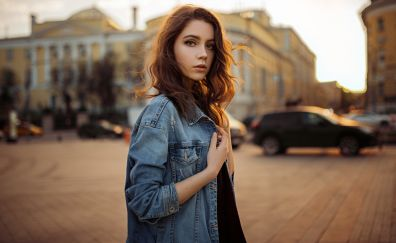 Xenia Kokoreva, jeans jacket, street