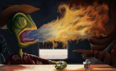 Rango animated movie, lizard, art