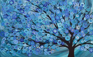 Art, tree, blue