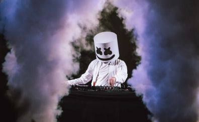 Marshmello, music festival, 2017, smoke