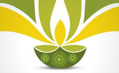 Green diwali clay lamp artwork