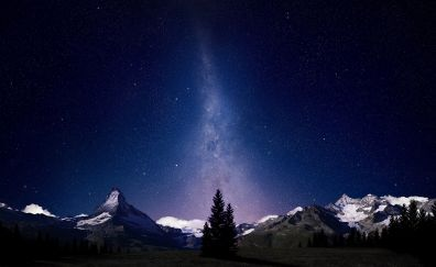 Milky way galaxy in night