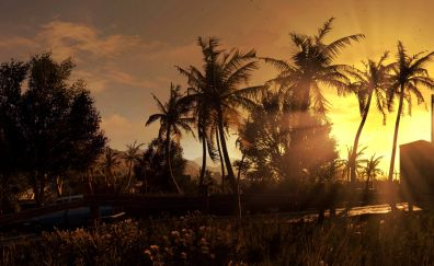 Dying light video game, sunset