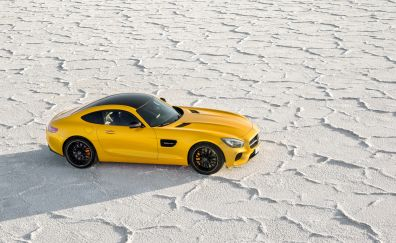 Mercedes-Benz AMG GT yellow car, side view