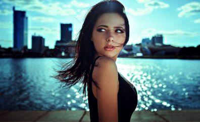 Maria Filippova, model, sunlight, brunette