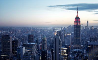 New york, Rockefeller center, sky, sunrise