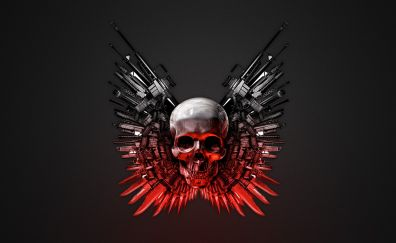 The expendables, movie, guns, skull