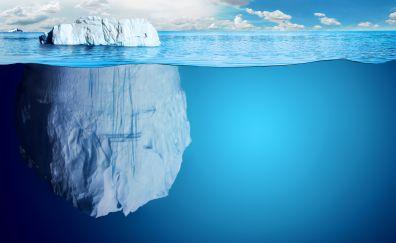 Iceberg of blue sea