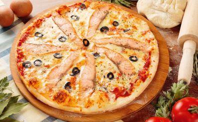 Pizza, food, vegetables