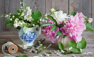 Peony, jasmine, scissors, vase, ribbons
