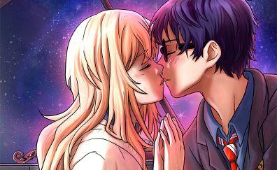 Kaori Miyazono, Kousei Arima, anime, couple, kiss