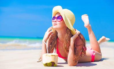 Girl model, sunglasses, bikini, holiday, summer, hat