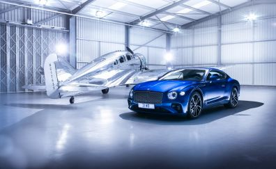 2018 Bentley Continental GT, front, blue