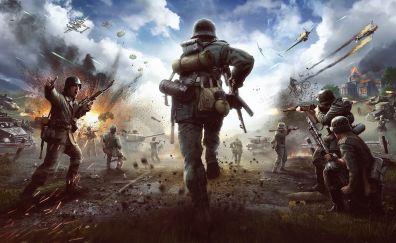 Heroes & generals, 4k, video game, battle ground